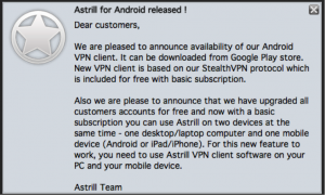 Astrill TOS free upgrade