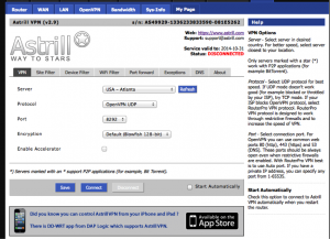 Astrill DDwrt Front Page